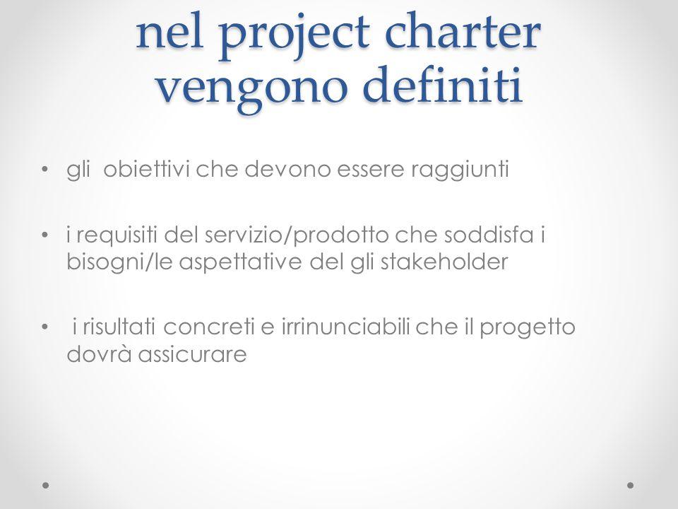 nel project charter vengono definiti gli obiettivi che devono essere raggiunti i requisiti del servizio/prodotto che soddisfa i bisogni/le aspettative