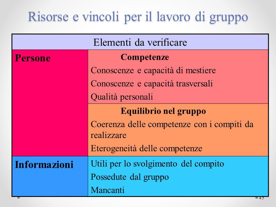 45 Risorse e vincoli per il lavoro di gruppo Elementi da verificare Persone Competenze Conoscenze e capacità di mestiere Conoscenze e capacità trasver
