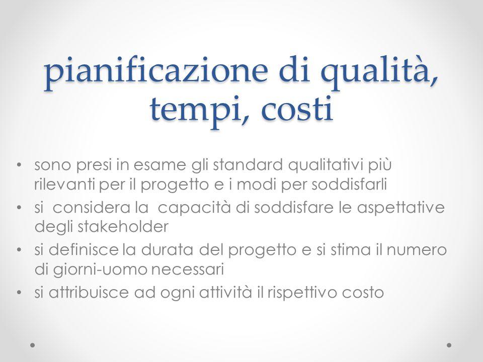 pianificazione di qualità, tempi, costi sono presi in esame gli standard qualitativi più rilevanti per il progetto e i modi per soddisfarli si conside