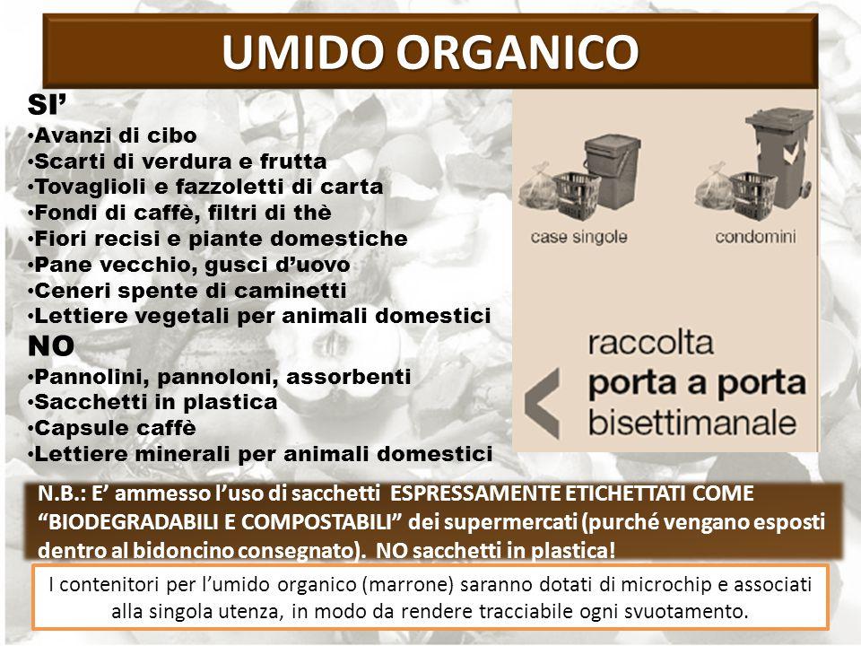 N.B.: E' ammesso l'uso di sacchetti ESPRESSAMENTE ETICHETTATI COME BIODEGRADABILI E COMPOSTABILI dei supermercati (purché vengano esposti dentro al bidoncino consegnato).