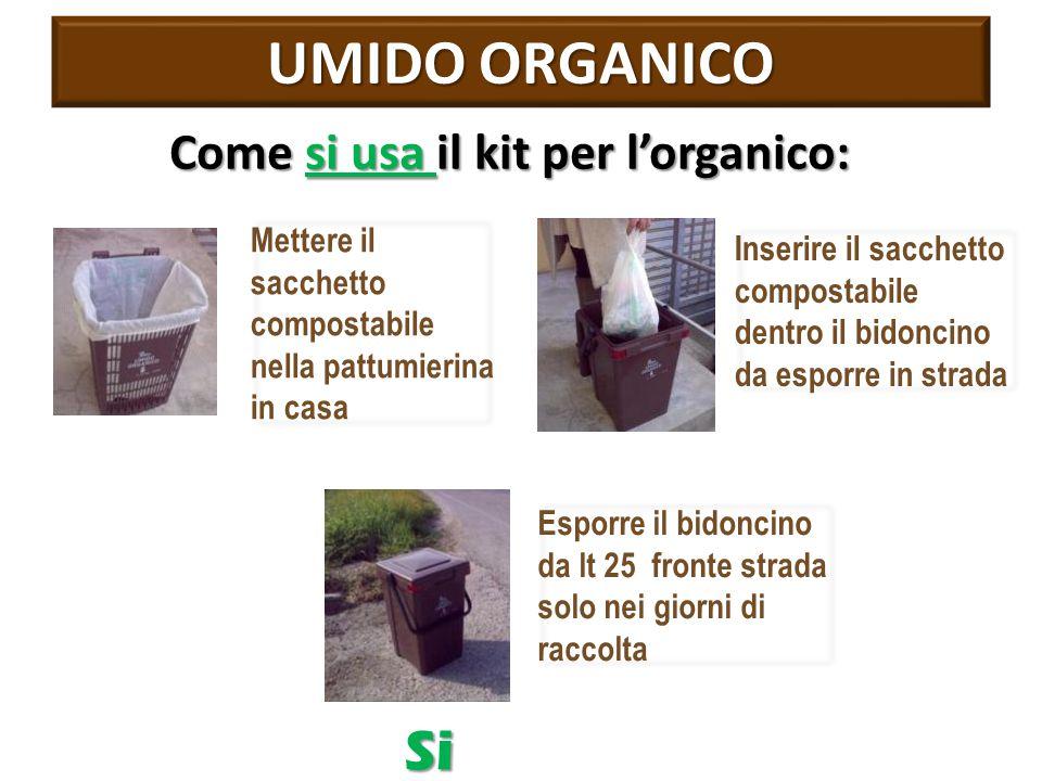 UMIDO ORGANICO Come si usa il kit per l'organico: Mettere il sacchetto compostabile nella pattumierina in casa Inserire il sacchetto compostabile dentro il bidoncino da esporre in strada Esporre il bidoncino da lt 25 fronte strada solo nei giorni di raccolta Si