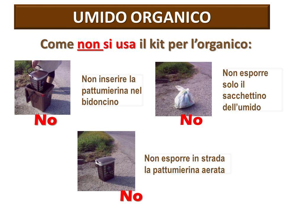 UMIDO ORGANICO Come non si usa il kit per l'organico: Non inserire la pattumierina nel bidoncino Non esporre solo il sacchettino dell'umido NoNo Non e