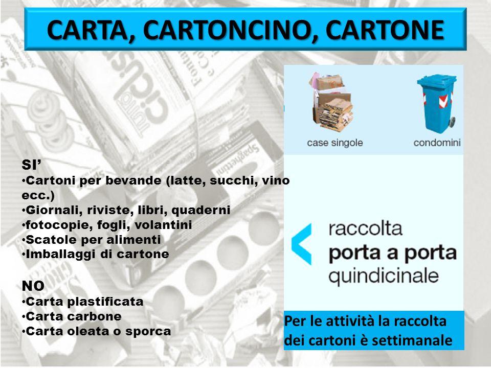 Per le attività la raccolta dei cartoni è settimanale CARTA, CARTONCINO, CARTONE SI' Cartoni per bevande (latte, succhi, vino ecc.) Giornali, riviste,