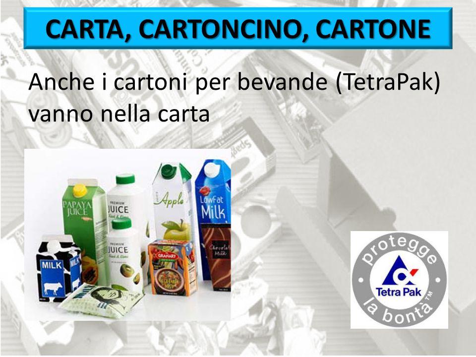 Anche i cartoni per bevande (TetraPak) vanno nella carta CARTA, CARTONCINO, CARTONE