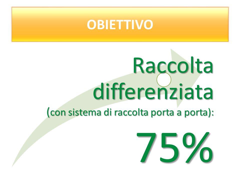 Obiettivo: OBIETTIVO Raccolta differenziata ( con sistema di raccolta porta a porta): 75%