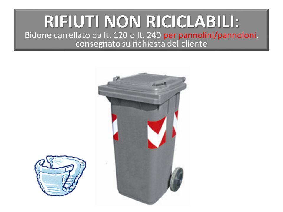 RIFIUTI NON RICICLABILI: RIFIUTI NON RICICLABILI: Bidone carrellato da lt.