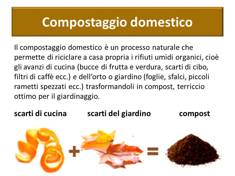 Compostaggio domestico Il compostaggio domestico è un processo naturale che permette di riciclare a casa propria i rifiuti umidi organici, cioè gli av