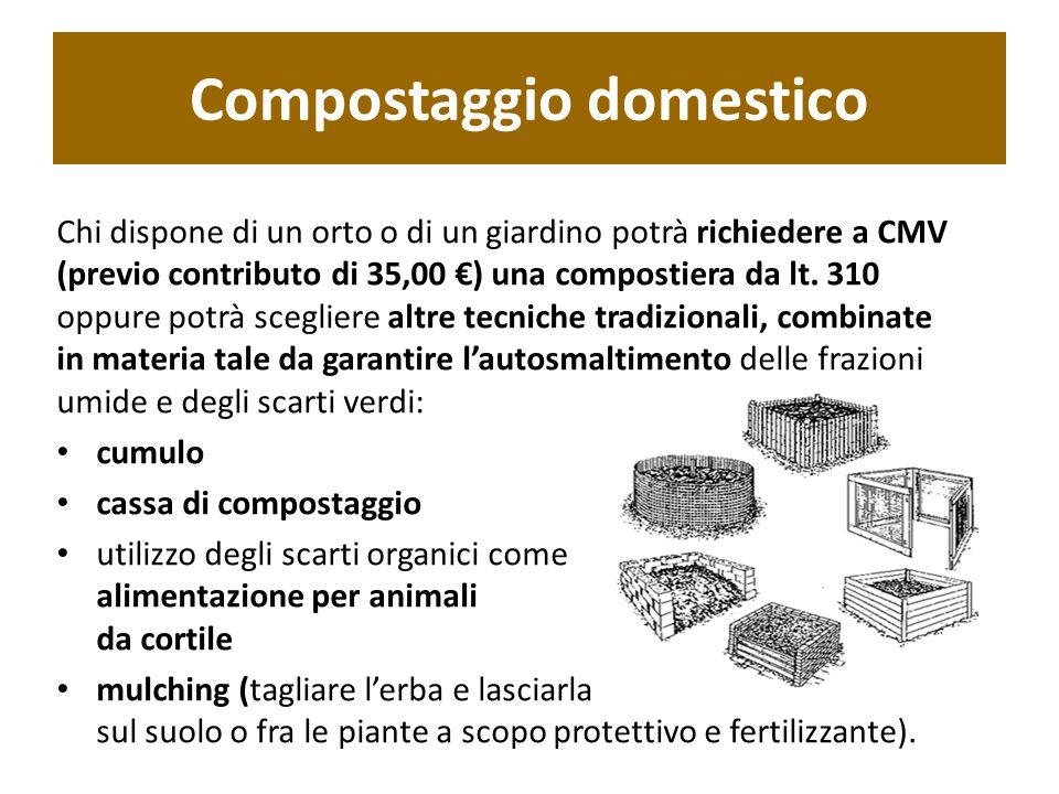 Chi dispone di un orto o di un giardino potrà richiedere a CMV (previo contributo di 35,00 €) una compostiera da lt. 310 oppure potrà scegliere altre