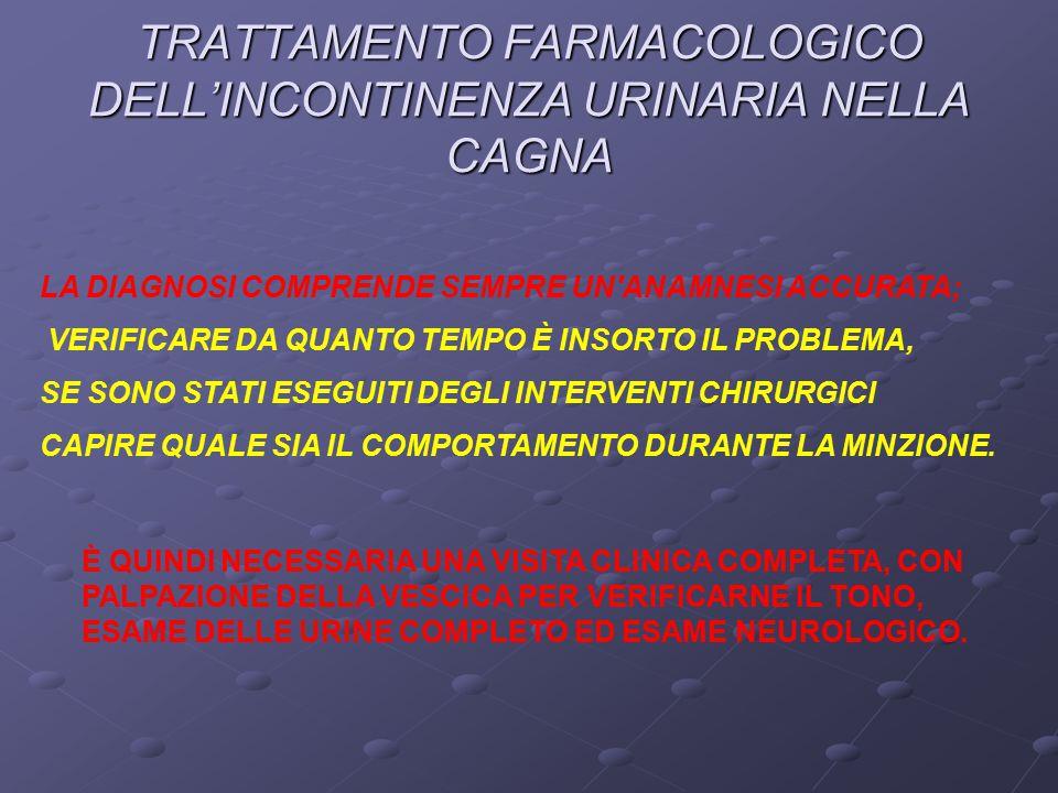 TRATTAMENTO FARMACOLOGICO DELL'INCONTINENZA URINARIA NELLA CAGNA LA DIAGNOSI COMPRENDE SEMPRE UN ANAMNESI ACCURATA; VERIFICARE DA QUANTO TEMPO È INSORTO IL PROBLEMA, SE SONO STATI ESEGUITI DEGLI INTERVENTI CHIRURGICI CAPIRE QUALE SIA IL COMPORTAMENTO DURANTE LA MINZIONE.