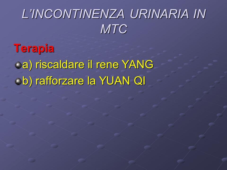 L'INCONTINENZA URINARIA IN MTC Terapia a) riscaldare il rene YANG b) rafforzare la YUAN QI