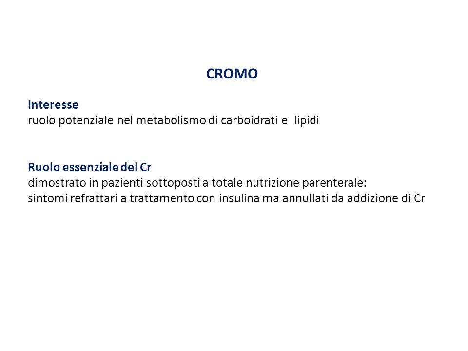 CROMO Interesse ruolo potenziale nel metabolismo di carboidrati e lipidi Ruolo essenziale del Cr dimostrato in pazienti sottoposti a totale nutrizione