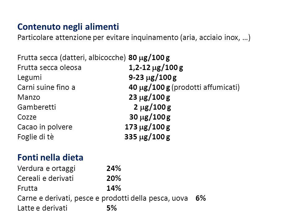 Contenuto negli alimenti Particolare attenzione per evitare inquinamento (aria, acciaio inox, …) Frutta secca (datteri, albicocche) 80  g/100 g Frutt