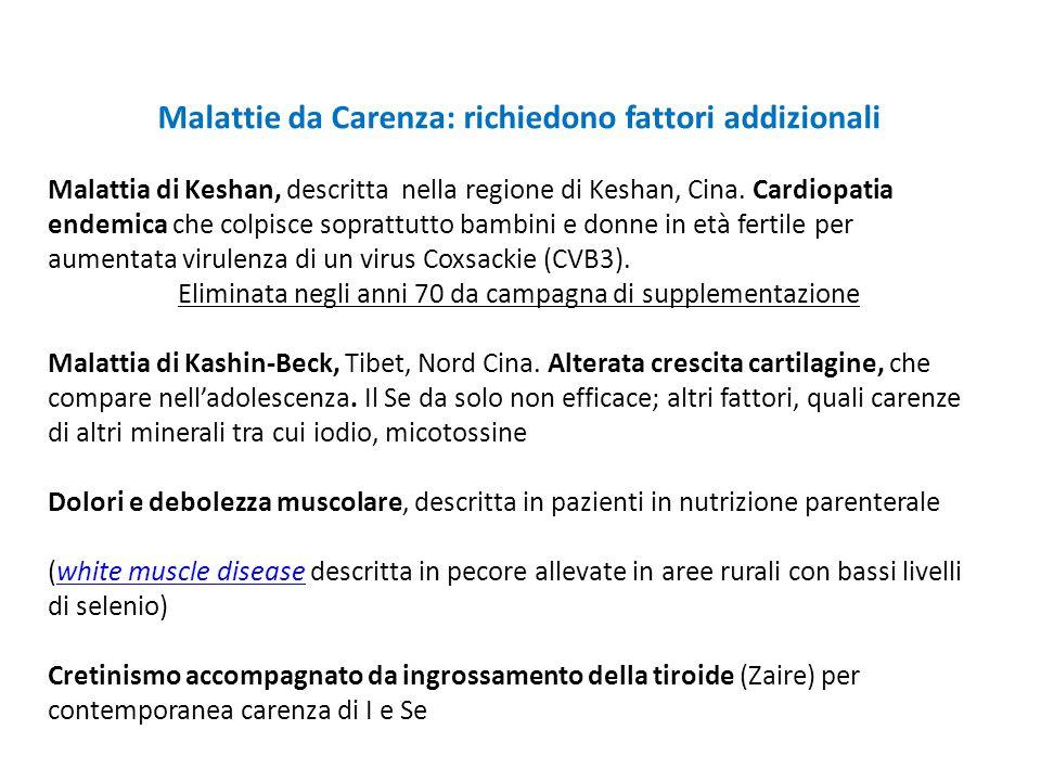 Malattie da Carenza: richiedono fattori addizionali Malattia di Keshan, descritta nella regione di Keshan, Cina. Cardiopatia endemica che colpisce sop