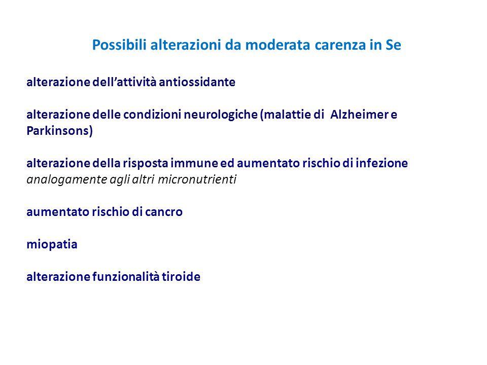 Possibili alterazioni da moderata carenza in Se alterazione dell'attività antiossidante alterazione delle condizioni neurologiche (malattie di Alzheim
