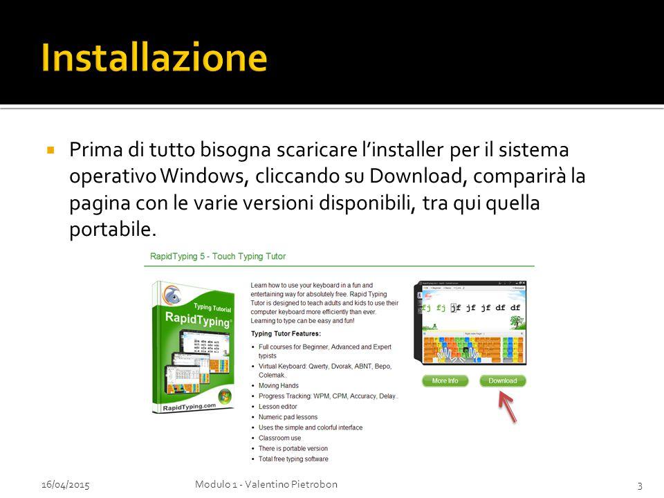  Prima di tutto bisogna scaricare l'installer per il sistema operativo Windows, cliccando su Download, comparirà la pagina con le varie versioni disp