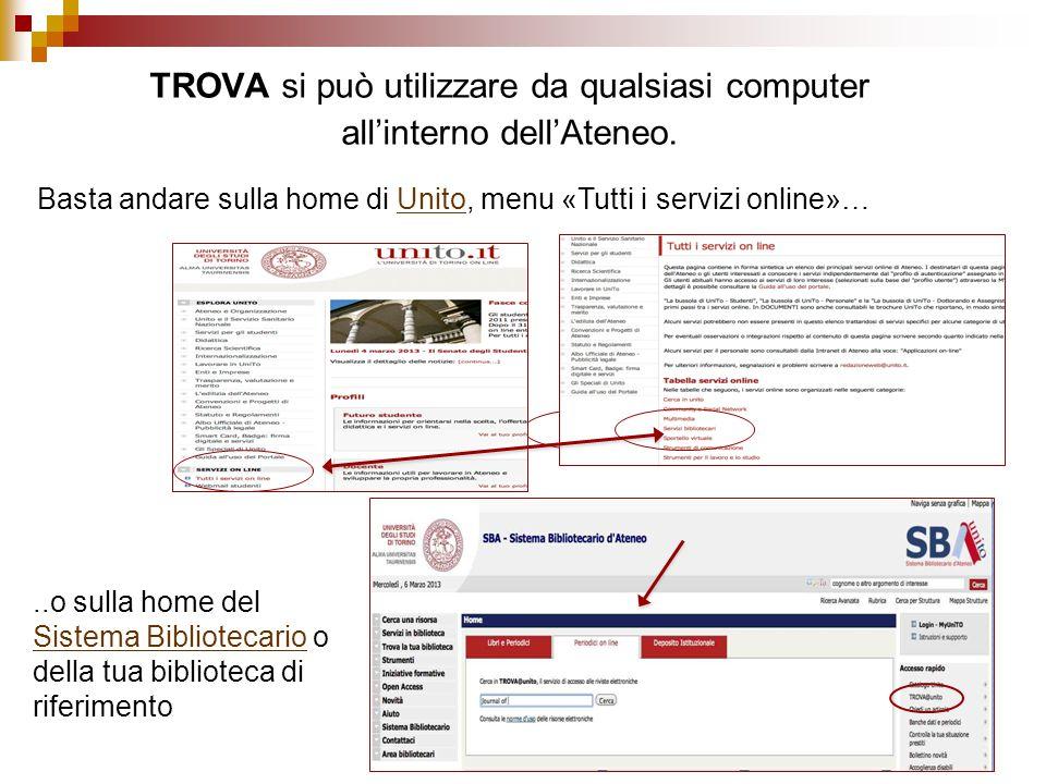 TROVA si può utilizzare da qualsiasi computer all'interno dell'Ateneo.