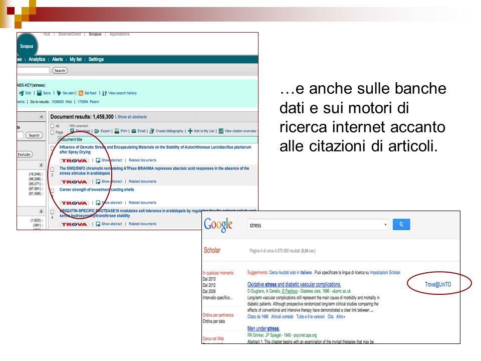 …e anche sulle banche dati e sui motori di ricerca internet accanto alle citazioni di articoli.