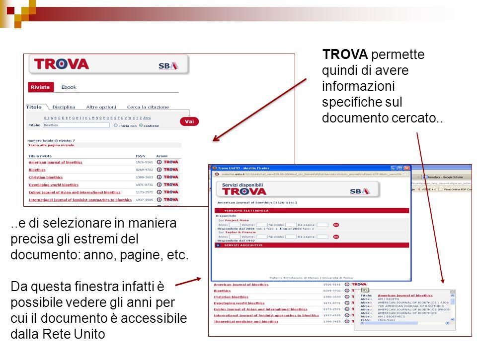 ..e di selezionare in maniera precisa gli estremi del documento: anno, pagine, etc.