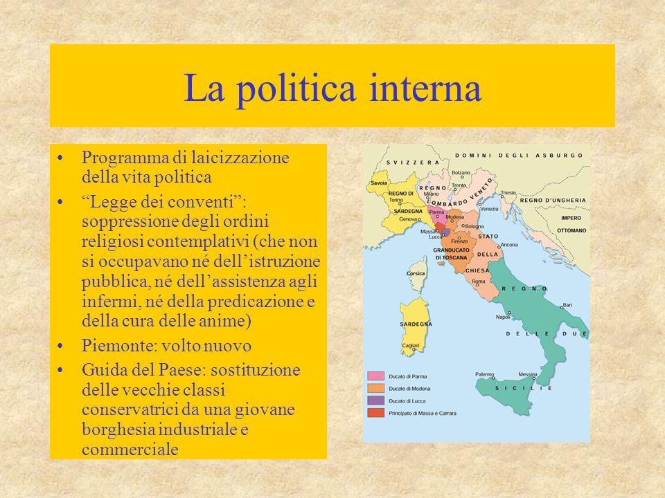 """La politica interna Programma di laicizzazione della vita politica """"Legge dei conventi"""": soppressione degli ordini religiosi contemplativi (che non si"""