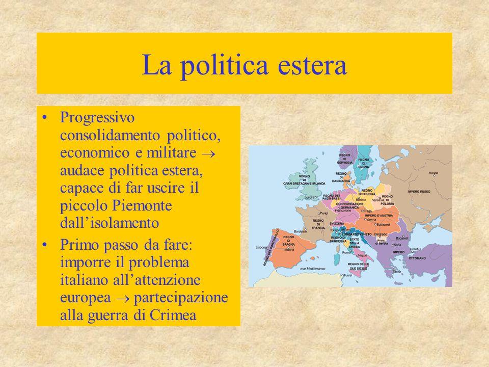 La politica estera Progressivo consolidamento politico, economico e militare  audace politica estera, capace di far uscire il piccolo Piemonte dall'i