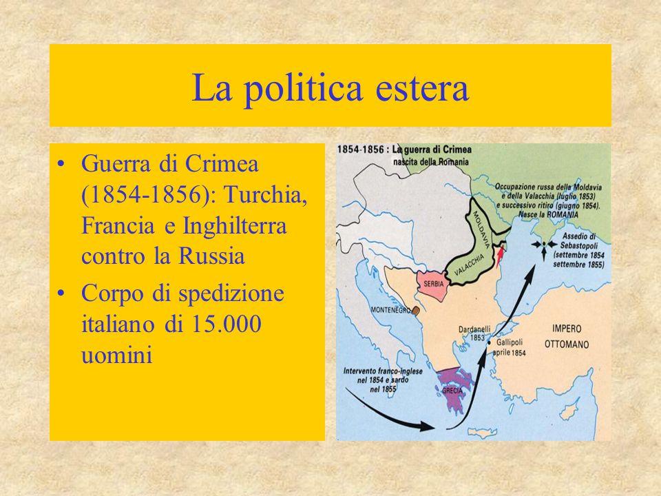 La politica estera Guerra di Crimea (1854-1856): Turchia, Francia e Inghilterra contro la Russia Corpo di spedizione italiano di 15.000 uomini