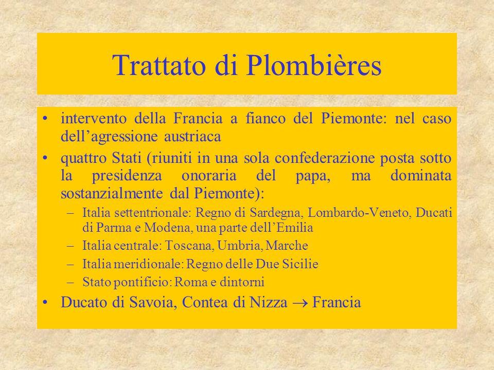 Trattato di Plombières intervento della Francia a fianco del Piemonte: nel caso dell'agressione austriaca quattro Stati (riuniti in una sola confedera