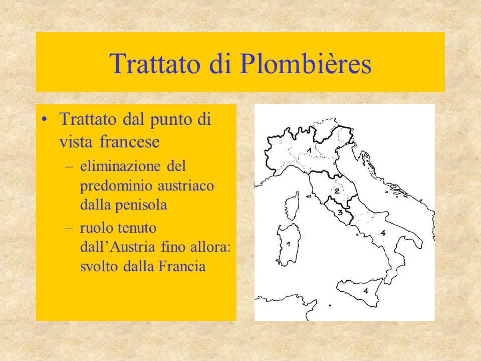 Trattato di Plombières Trattato dal punto di vista francese –eliminazione del predominio austriaco dalla penisola –ruolo tenuto dall'Austria fino allo