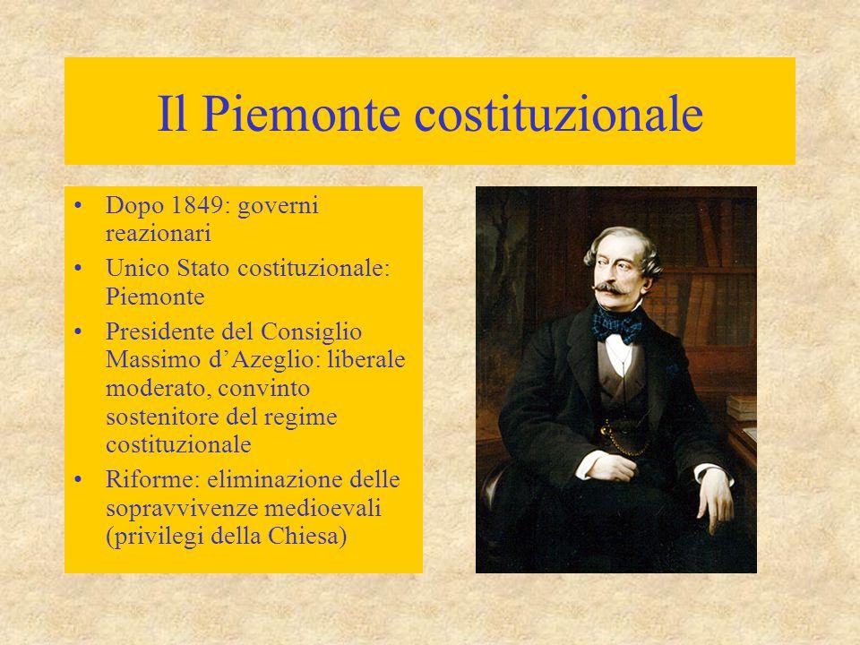 Il Piemonte costituzionale Dopo 1849: governi reazionari Unico Stato costituzionale: Piemonte Presidente del Consiglio Massimo d'Azeglio: liberale mod