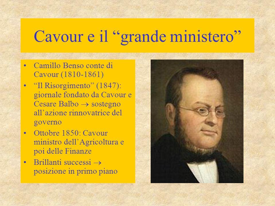 """Cavour e il """"grande ministero"""" Camillo Benso conte di Cavour (1810-1861) """"Il Risorgimento"""" (1847): giornale fondato da Cavour e Cesare Balbo  sostegn"""