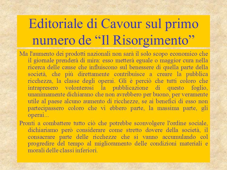 """Editoriale di Cavour sul primo numero de """"Il Risorgimento"""" Ma l'aumento dei prodotti nazionali non sarà il solo scopo economico che il giornale prende"""