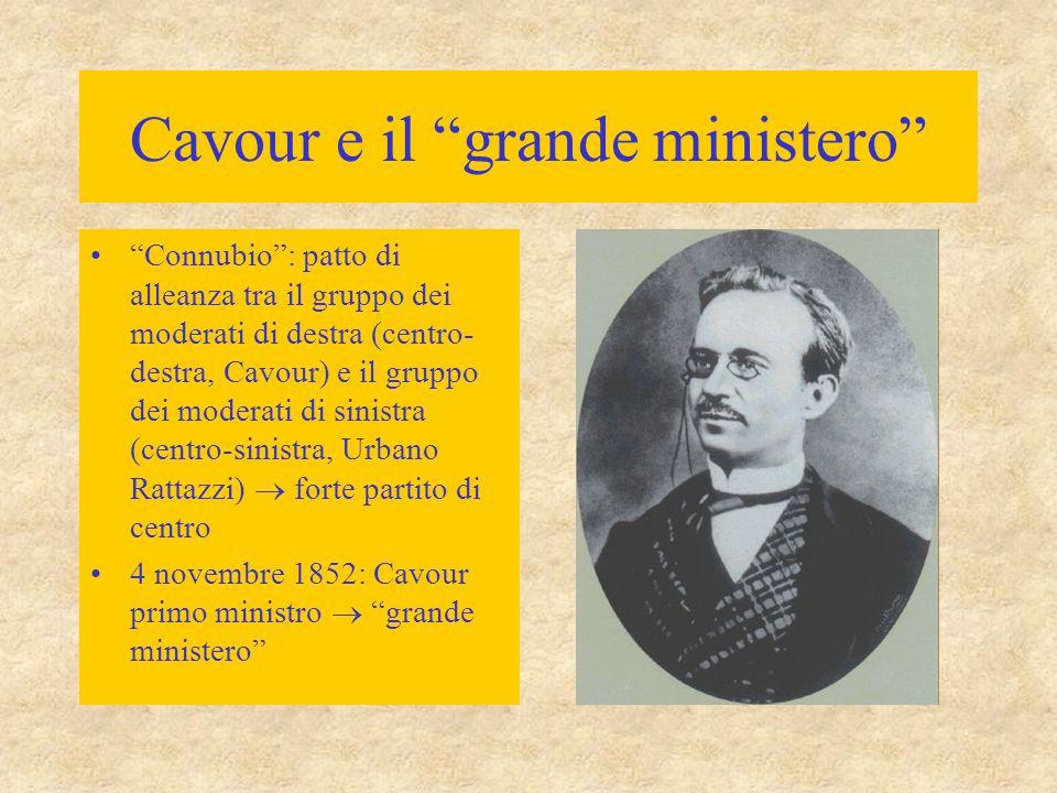 """Cavour e il """"grande ministero"""" """"Connubio"""": patto di alleanza tra il gruppo dei moderati di destra (centro- destra, Cavour) e il gruppo dei moderati di"""