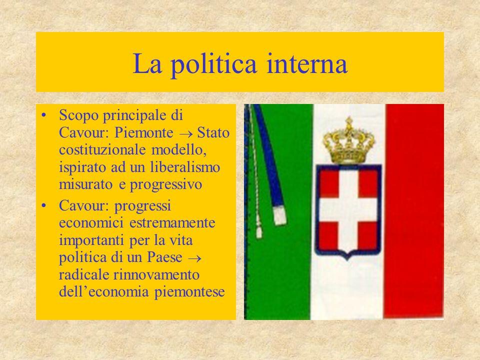 La politica interna Scopo principale di Cavour: Piemonte  Stato costituzionale modello, ispirato ad un liberalismo misurato e progressivo Cavour: progressi economici estremamente importanti per la vita politica di un Paese  radicale rinnovamento dell'economia piemontese