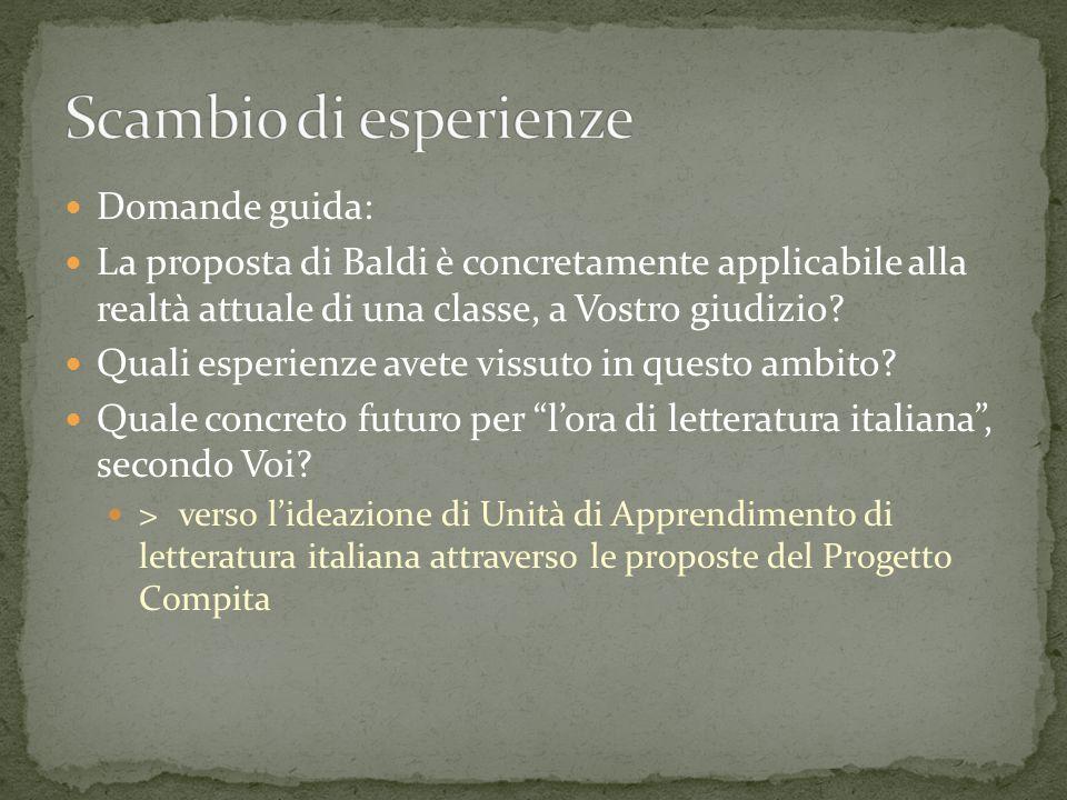 Domande guida: La proposta di Baldi è concretamente applicabile alla realtà attuale di una classe, a Vostro giudizio.