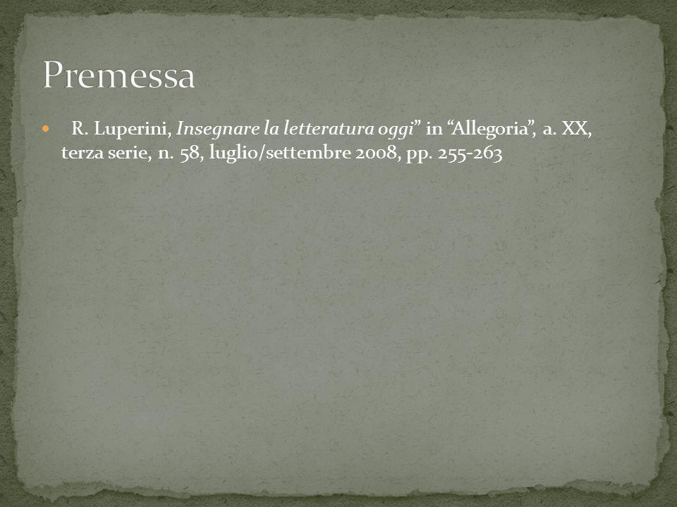 R. Luperini, Insegnare la letteratura oggi in Allegoria , a.