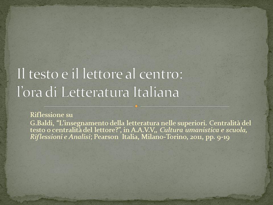 Riflessione su G.Baldi, L'insegnamento della letteratura nelle superiori.