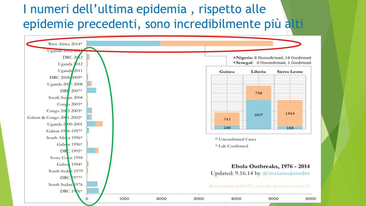 I numeri dell'ultima epidemia, rispetto alle epidemie precedenti, sono incredibilmente più alti