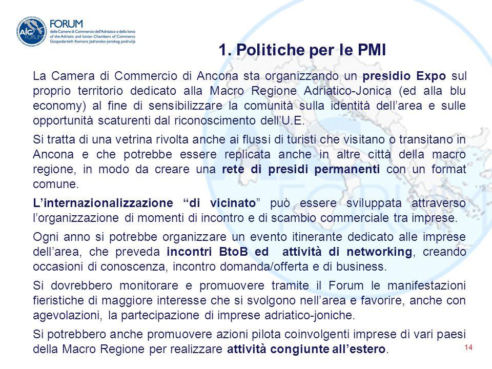 14 La Camera di Commercio di Ancona sta organizzando un presidio Expo sul proprio territorio dedicato alla Macro Regione Adriatico-Jonica (ed alla blu economy) al fine di sensibilizzare la comunità sulla identità dell'area e sulle opportunità scaturenti dal riconoscimento dell'U.E.