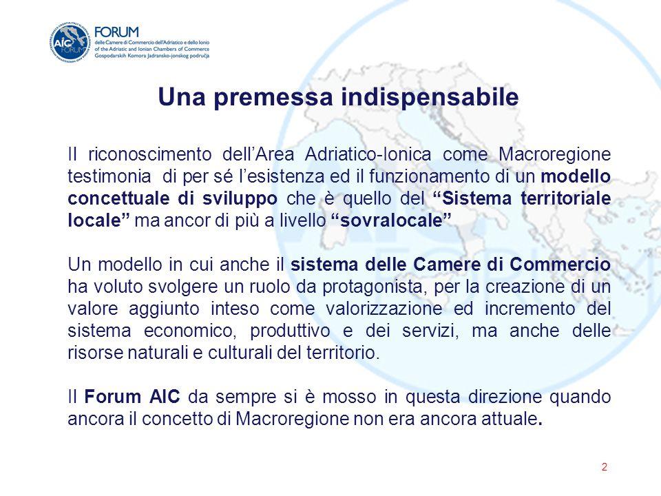 Il costante impegno del Forum AIC verso la MACROREGIONE Le attività svolte nel corso degli ultimi dieci anni, insieme alle sinergie sviluppate congiuntamente con gli altri due Fora presenti sul territorio (Forum Città e UNIADRION) sotto il coordinamento del Segretariato Permanente dell'Iniziativa Adriatico Ionica (in particolare la Dichiarazione di Intenti per un Segretariato Adriatico Ionico Integrato - Medjugorie, 2013), hanno identificato il Forum AIC come uno dei maggiori stakeholder della Strategia Europea per la Regione Adriatico Ionica sia durante la fase di Consultazione EUSAIR (conclusa a febbraio 2014) che nella nuova fase di implementazione del Piano di Azione (il Forum AIC viene citato come soggetto capace di abbattere le barriere amministrative e facilitare le opportunità commerciali ) 3