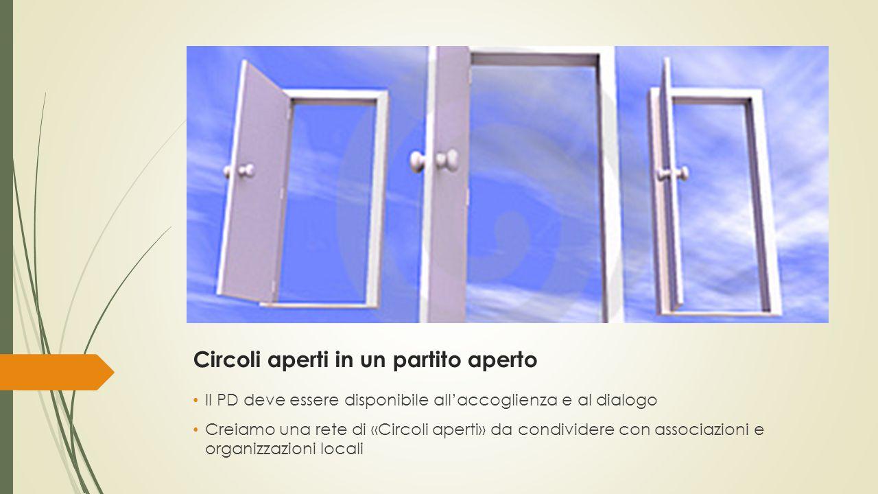 Circoli aperti in un partito aperto Il PD deve essere disponibile all'accoglienza e al dialogo Creiamo una rete di «Circoli aperti» da condividere con associazioni e organizzazioni locali