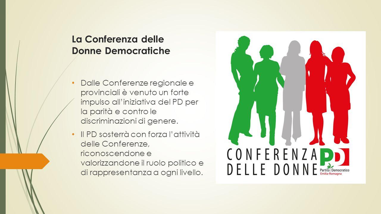 La Conferenza delle Donne Democratiche Dalle Conferenze regionale e provinciali è venuto un forte impulso all'iniziativa del PD per la parità e contro le discriminazioni di genere.