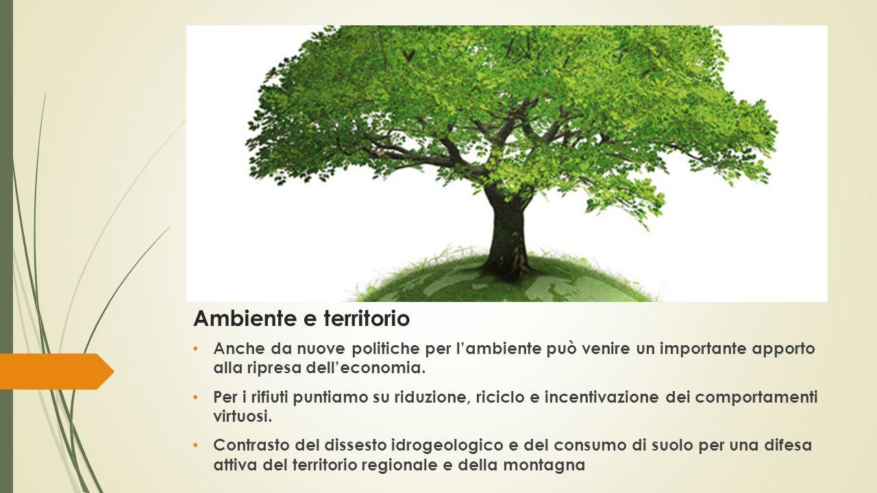 Ambiente e territorio Anche da nuove politiche per l'ambiente può venire un importante apporto alla ripresa dell'economia.
