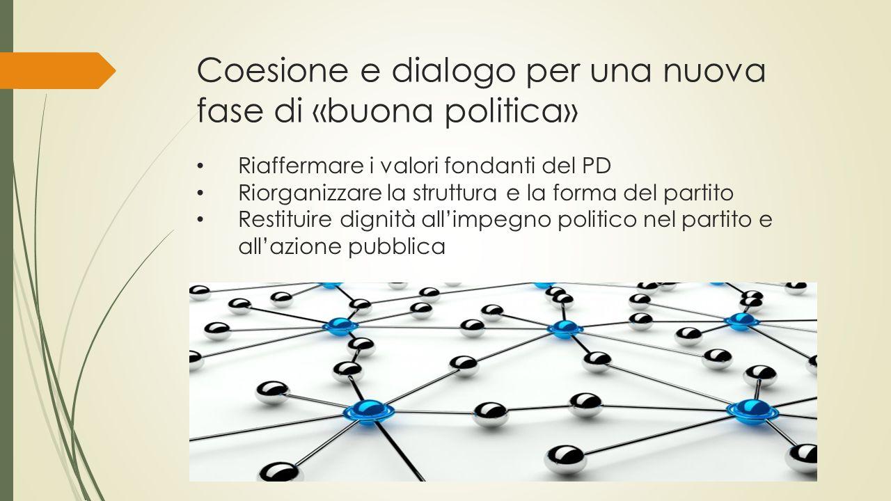 Coesione e dialogo per una nuova fase di «buona politica» Riaffermare i valori fondanti del PD Riorganizzare la struttura e la forma del partito Restituire dignità all'impegno politico nel partito e all'azione pubblica