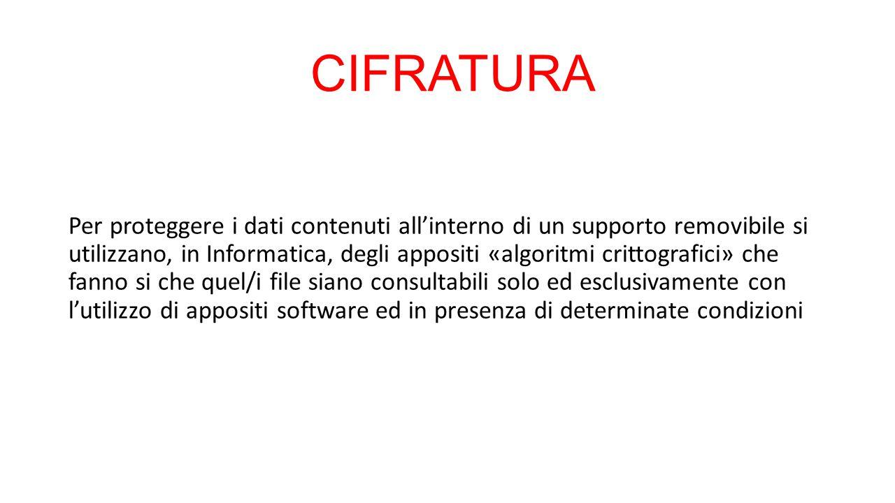 CIFRATURA Per proteggere i dati contenuti all'interno di un supporto removibile si utilizzano, in Informatica, degli appositi «algoritmi crittografici