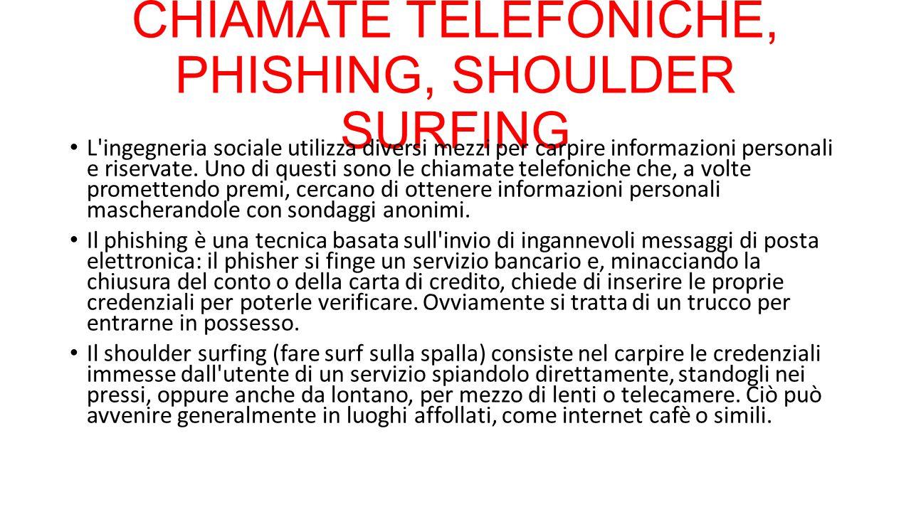 CHIAMATE TELEFONICHE, PHISHING, SHOULDER SURFING L'ingegneria sociale utilizza diversi mezzi per carpire informazioni personali e riservate. Uno di qu