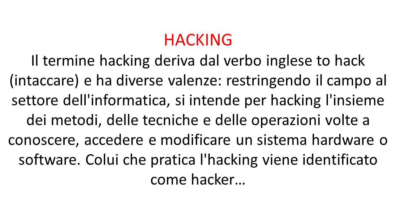 HACKING Il termine hacking deriva dal verbo inglese to hack (intaccare) e ha diverse valenze: restringendo il campo al settore dell'informatica, si in
