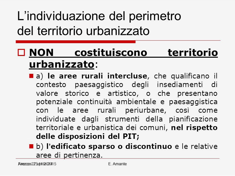 L'individuazione del perimetro del territorio urbanizzato  NON costituiscono territorio urbanizzato: a) le aree rurali intercluse, che qualificano il