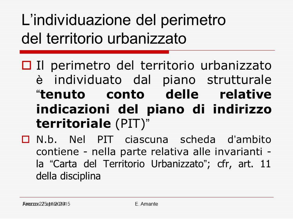 """L'individuazione del perimetro del territorio urbanizzato  Il perimetro del territorio urbanizzato è individuato dal piano strutturale """" tenuto conto"""