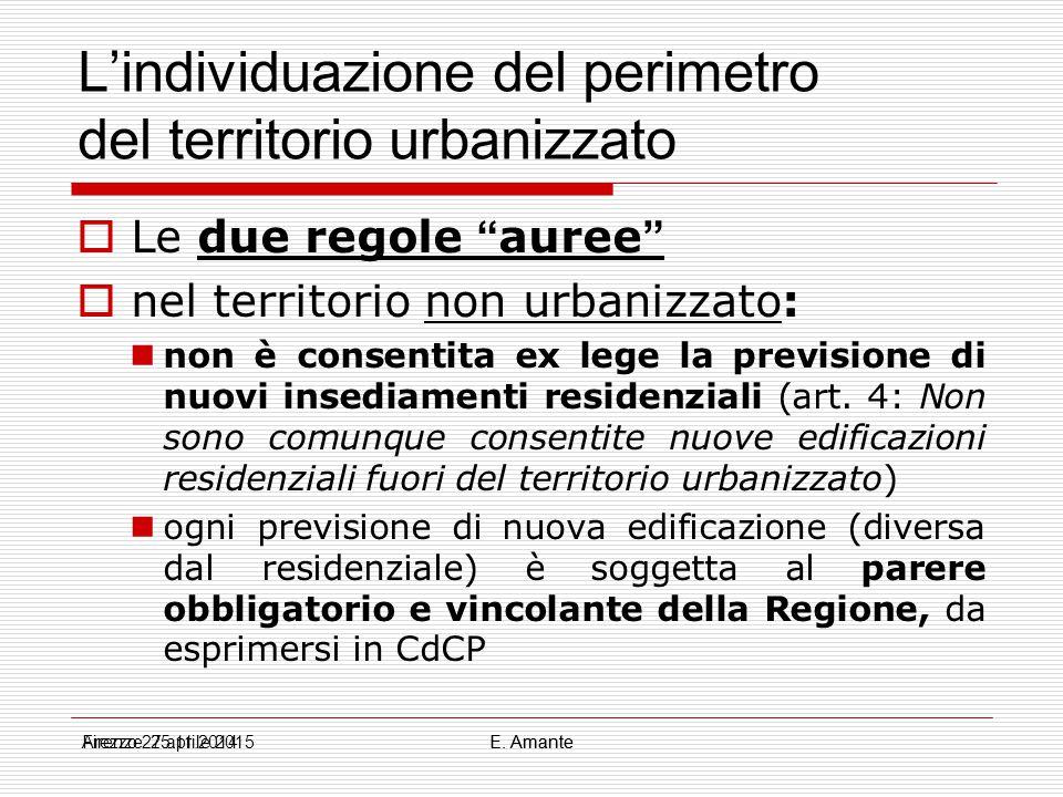 """L'individuazione del perimetro del territorio urbanizzato  Le due regole """" auree """"  nel territorio non urbanizzato: non è consentita ex lege la prev"""