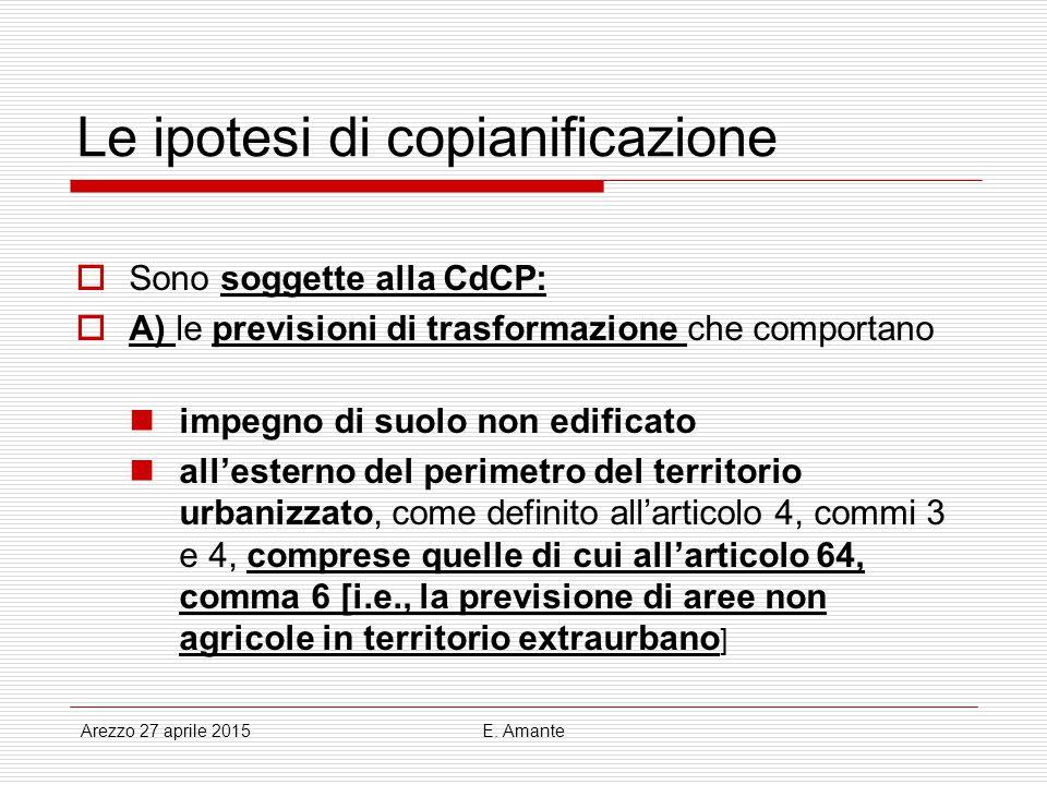 Le ipotesi di copianificazione  Sono soggette alla CdCP:  A) le previsioni di trasformazione che comportano impegno di suolo non edificato all'ester