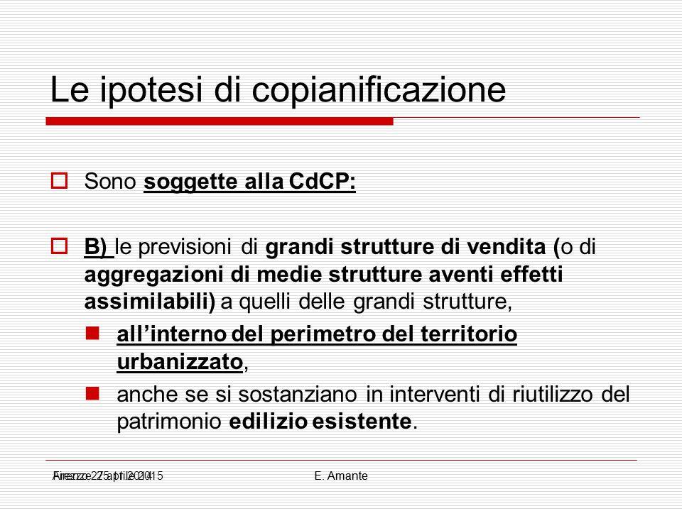 Le ipotesi di copianificazione  Sono soggette alla CdCP:  B) le previsioni di grandi strutture di vendita (o di aggregazioni di medie strutture aven
